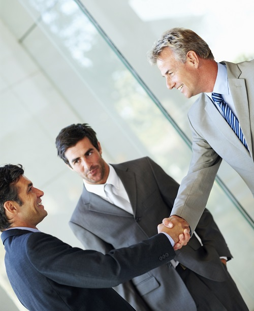 Portrait of successful business people shaking hands with each other after a deal